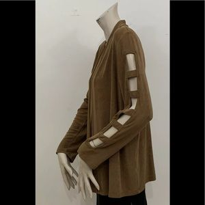 TRAVELERS BY CHICO'S BROWN TRAVEL KNIT JACKET